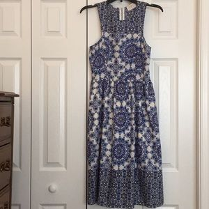 Everly Blue & White Paisley Dress